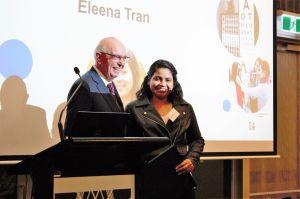 Prof Frank Martin awards student Eleena Tran the Frank Martin Orthoptics Scholarship